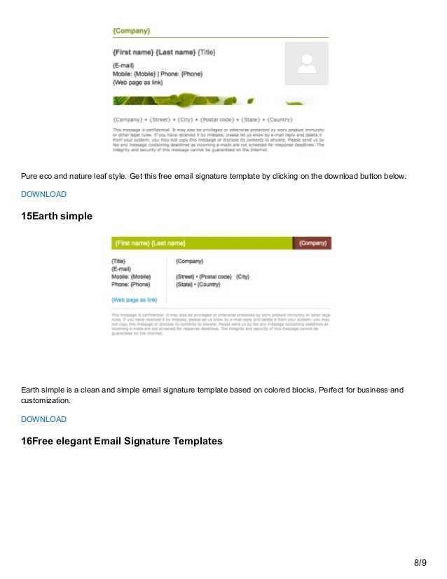 Utemplates.net: free email signature templates