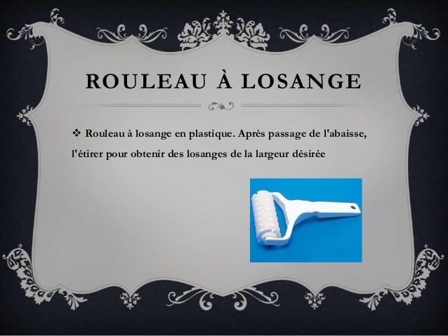 ROULEAU À LOSANGE  Rouleau à losange en plastique. Après passage de l'abaisse, l'étirer pour obtenir des losanges de la l...