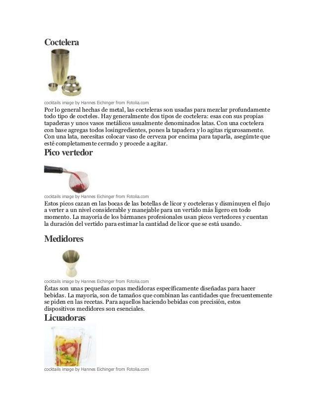 utensilios para el bar y sus funciones