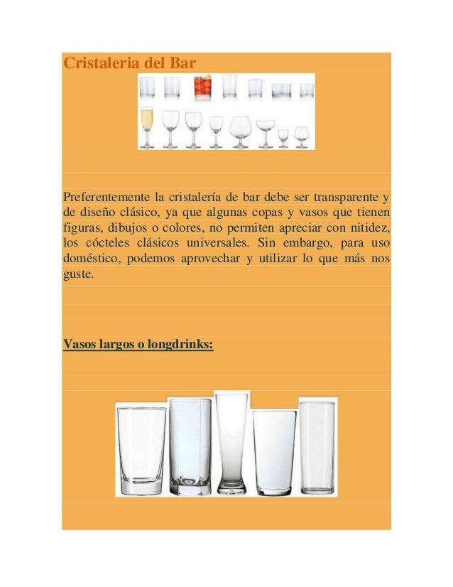 Utensilios para el bar y sus funciones for Copas y vasos para bar