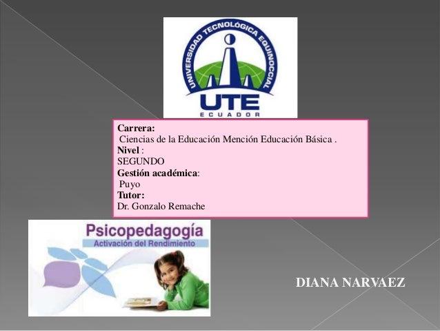 DIANA NARVAEZCarrera:Ciencias de la Educación Mención Educación Básica .Nivel :SEGUNDOGestión académica:PuyoTutor:Dr. Gonz...