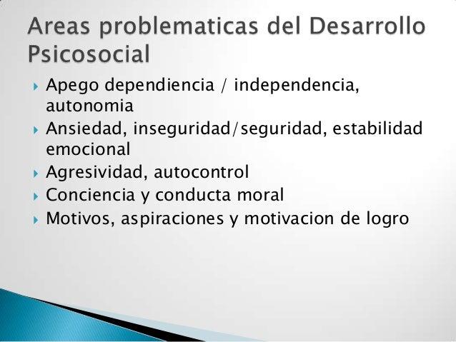  Apego dependiencia / independencia,autonomia Ansiedad, inseguridad/seguridad, estabilidademocional Agresividad, autoco...