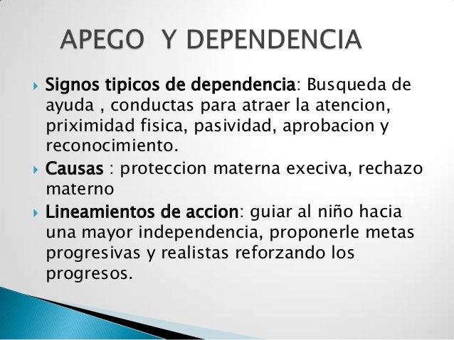  Signos tipicos de dependencia: Busqueda deayuda , conductas para atraer la atencion,priximidad fisica, pasividad, aproba...