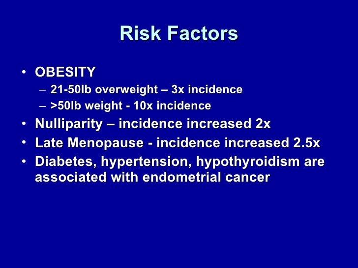 Risk Factors <ul><li>OBESITY  </li></ul><ul><ul><li>21-50lb overweight – 3x incidence </li></ul></ul><ul><ul><li>>50lb wei...
