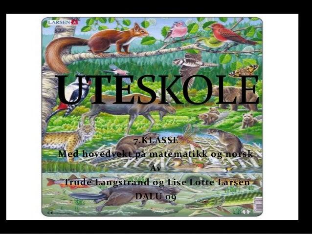 7.KLASSEMed hovedvekt på matematikk og norsk                 Av Trude Langstrand og Lise Lotte Larsen               DALU 09