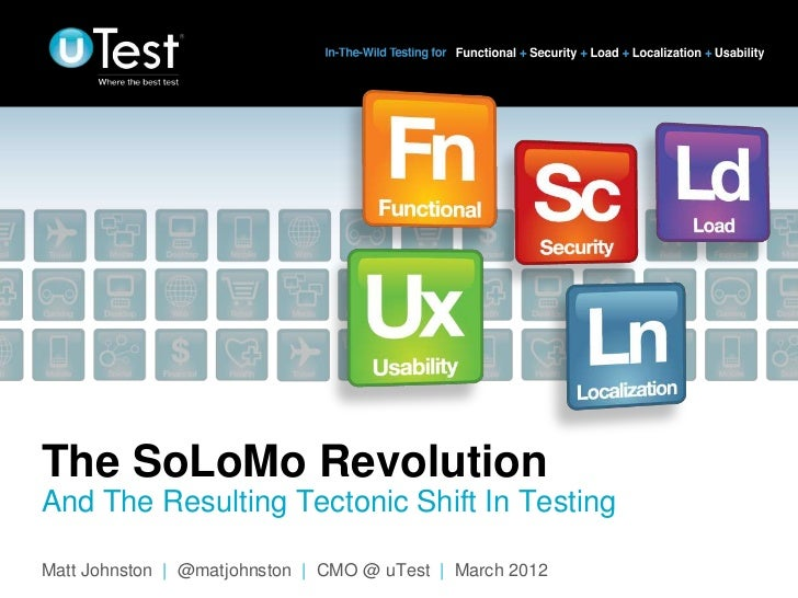 The SoLoMo RevolutionAnd The Resulting Tectonic Shift In Testing                                                          ...