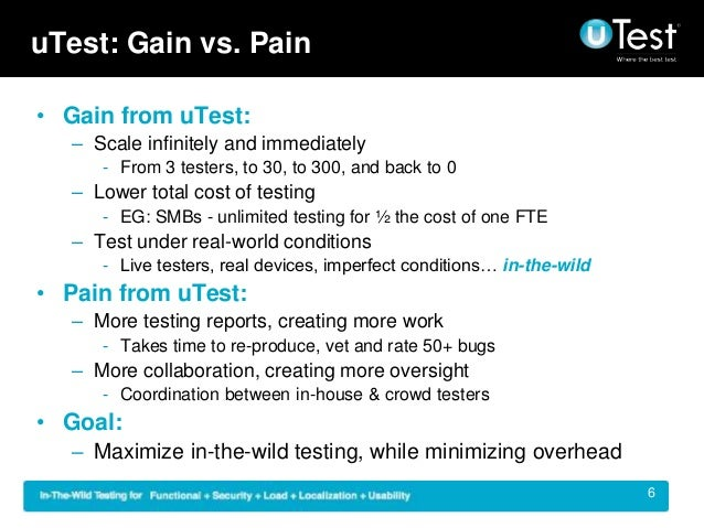 uTest: Gain vs. Pain • Gain from uTest: – Scale infinitely and immediately - From 3 testers, to 30, to 300, and back to 0 ...