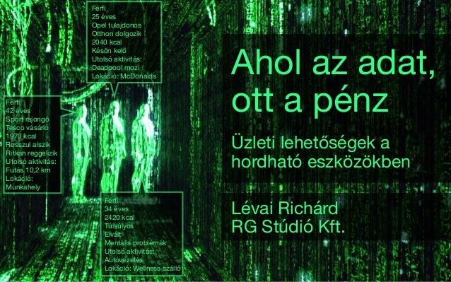 Ahol az adat, ott a pénz Üzleti lehetőségek a hordható eszközökben Lévai Richárd  RG Stúdió Kft. Férfi  42 éves  Sport rajo...