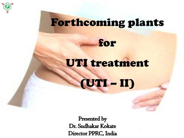 Forthcoming plants for UTI treatment (UTI – II) Presented by Dr. Sudhakar Kokate Director PPRC, India
