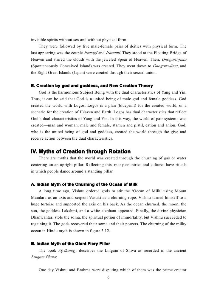 creation myth essay Here are a few exemplification essay topics on myths and religion that will kick an example of similar creation myths that predated the above religions.