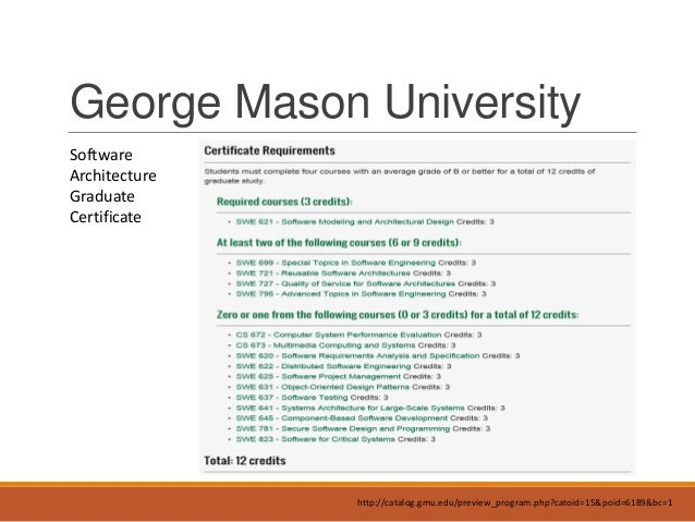 Awesome Certification; 13. George Mason University Software Architecture ...