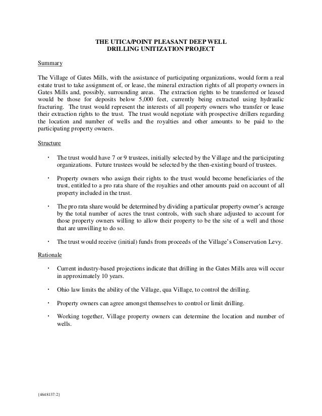 THE UTICA/POINT PLEASANT DEEP WELL DRILLING UNITIZATION PROJECT Summary The Village of Gates Mills, with the assistance of...