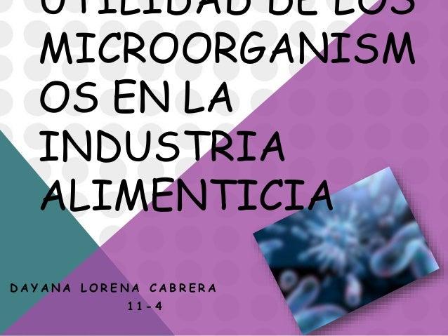 UTILIDAD DE LOS MICROORGANISM OS EN LA INDUSTRIA ALIMENTICIA D A Y A N A L O R E N A C A B R E R A 1 1 - 4