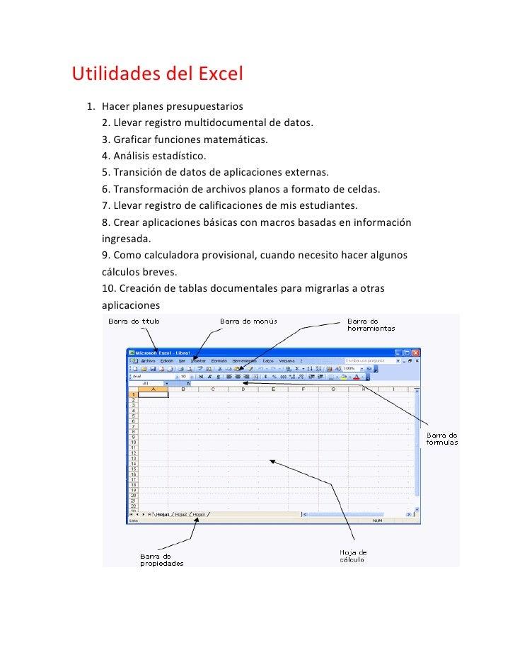 Utilidades del Excel 1. Hacer planes presupuestarios    2. Llevar registro multidocumental de datos.    3. Graficar funcio...