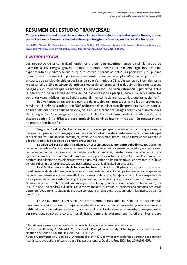 José Luis López Rúa. R-2 Psicología Clínica. C Hospitalario de Cáceres Grupo evalmed-GRADE (evalmed.es), Febrero-2015 RESU...