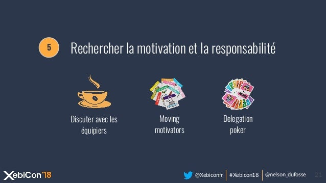 @Xebiconfr #Xebicon18 @nelson_dufosse 21 Discuter avec les équipiers Delegation poker Moving motivators 5 Rechercher la mo...
