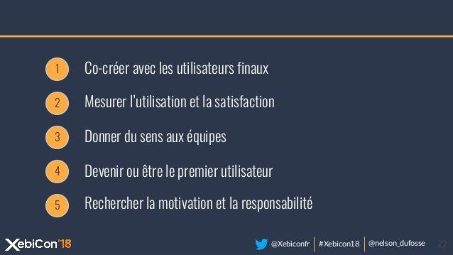 @Xebiconfr #Xebicon18 @nelson_dufosse 22 Mesurer l'utilisation et la satisfaction 1 Co-créer avec les utilisateurs finaux ...