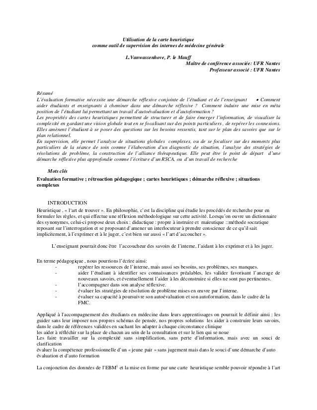 Utilisation de la carte heuristique comme outil de supervision des internes de médecine générale L.Vanwassenhove, P. le Ma...