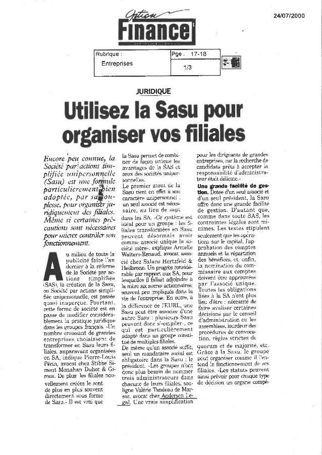 Utiliser la SASU pour organiser vos filiales