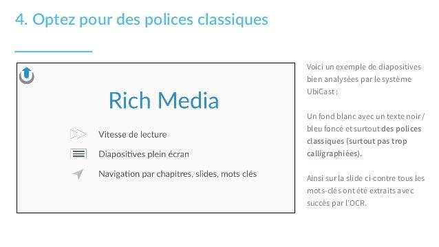 Voici un exemple de diapositives bien analysées par le système UbiCast : Un fond blanc avec un texte noir / bleu foncé et ...
