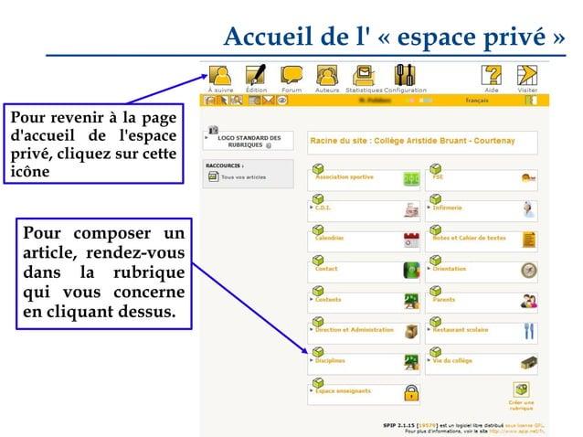 Accueil de l' «espace privé» Pour revenir à la page d'accueil de l'espace privé, cliquez sur cette icône  Pour composer ...