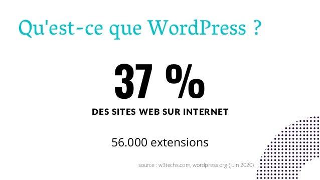 Qu'est-ce que WordPress ? 37 %DES SITES WEB SUR INTERNET 56.000 extensions source : w3techs.com, wordpress.org (juin 2020)