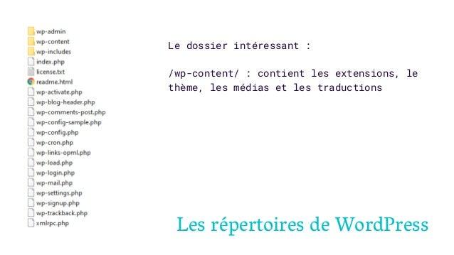 Les répertoires de WordPress Le dossier intéressant : /wp-content/ : contient les extensions, le thème, les médias et les ...