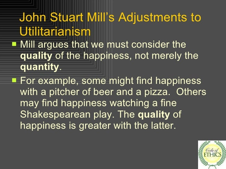 "criticisms of utilitarianism View notes - notes on criticisms of utilitarianism from phil 10100 at notre dame the greatest number of people"" objection 3: ""inconsistency in considering di f erences of quality or kind,."