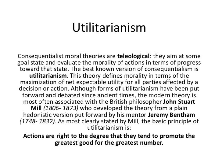 contrasting views of morality between utilitarianism