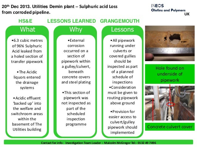 20th Dec 2013. Utilities Demin plant – Sulphuric acid Loss from corroded pipeline. What Why Lessons •6.3 cubic metres of 9...
