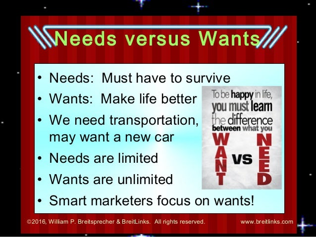 need vs want essay How to write an essay wikihow account no account you can use the arguments of others to back up what you want to say however, you need to come up with your.