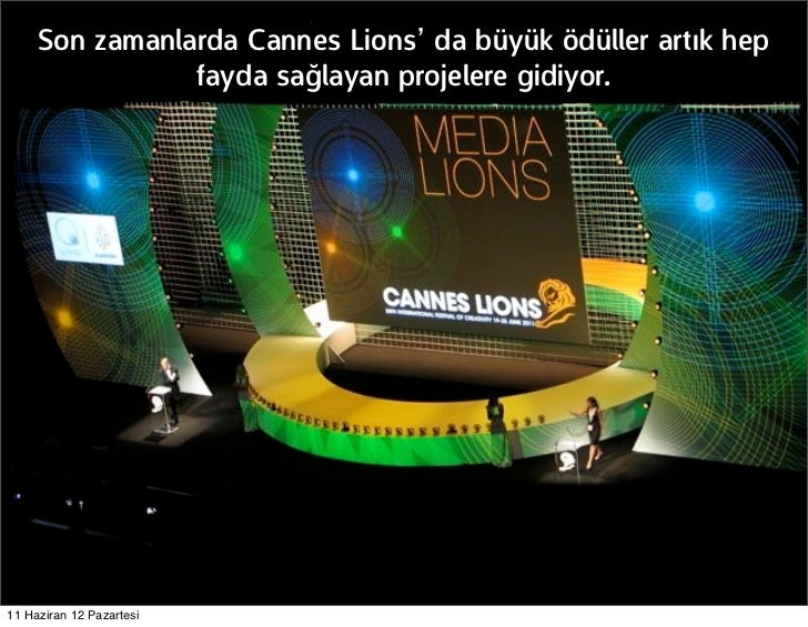 Son zamanlarda Cannes Lions' da büyük ödüller artık hep                fayda sağlayan projelere gidiyor.11 Haziran 12 Paza...