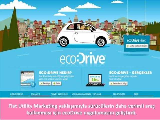 Fiat Utility Marketing yaklaşımıyla sürücülerin daha verimli araç         kullanması için ecoDrive uygulamasını geliştirdi.