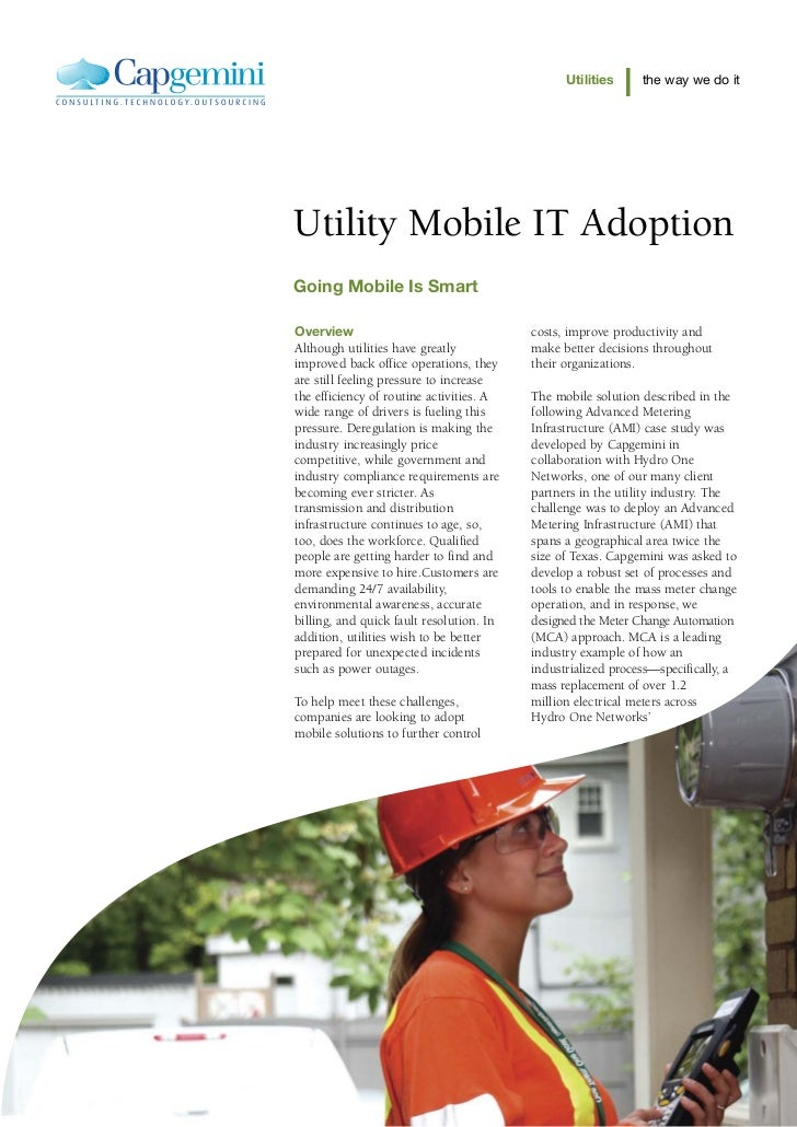 Utilities     the way we do itUtility Mobile IT AdoptionGoing Mobile Is SmartOverview                                  cos...
