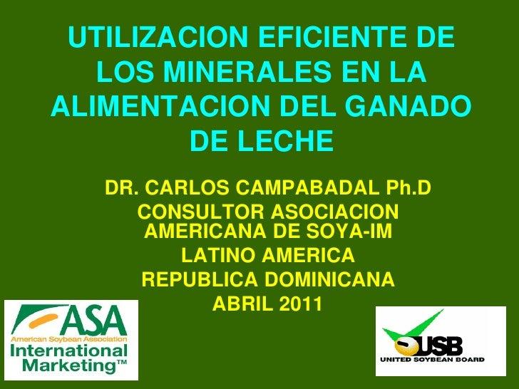 UTILIZACION EFICIENTE DE   LOS MINERALES EN LAALIMENTACION DEL GANADO         DE LECHE   DR. CARLOS CAMPABADAL Ph.D      C...