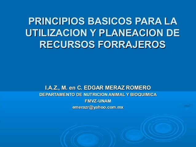 PRINCIPIOS BASICOS PARA LAPRINCIPIOS BASICOS PARA LA UTILIZACION Y PLANEACION DEUTILIZACION Y PLANEACION DE RECURSOS FORRA...