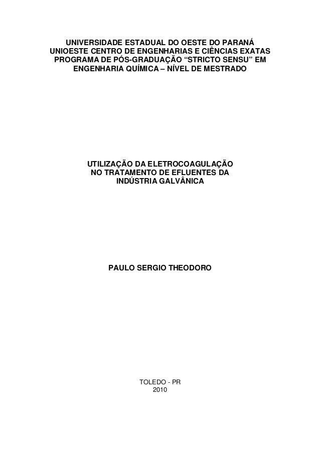 """UNIVERSIDADE ESTADUAL DO OESTE DO PARANÁ UNIOESTE CENTRO DE ENGENHARIAS E CIÊNCIAS EXATAS PROGRAMA DE PÓS-GRADUAÇÃO """"STRIC..."""