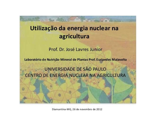 Utilização da energia nuclear naagriculturaProf. Dr. José Lavres JuniorLaboratório de Nutrição Mineral de Plantas Prof. Eu...