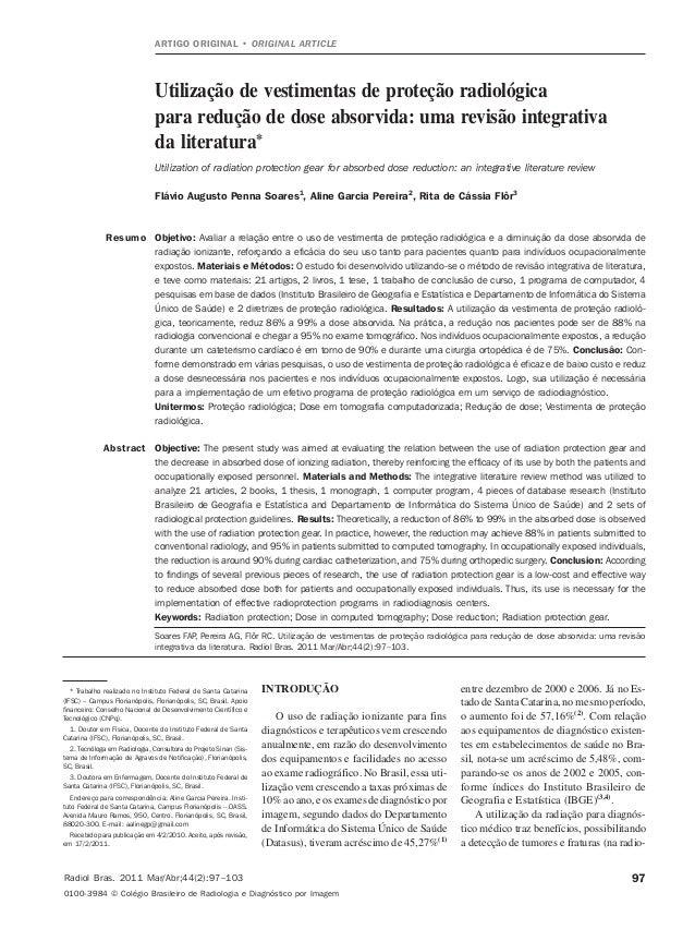 97Soares FAP et al. Vestimentas de proteção radiológicaRadiol Bras. 2011 Mar/Abr;44(2):97–103Utilização de vestimentas de ...