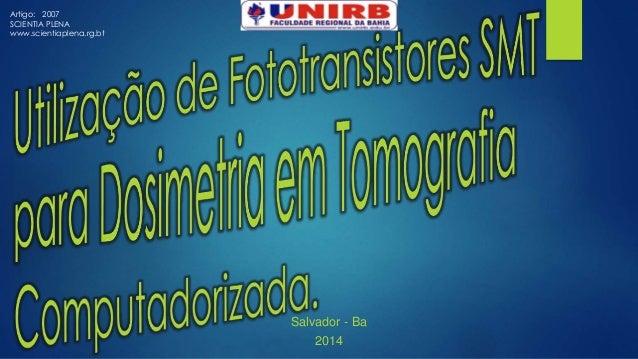 Salvador - Ba  2014  Artigo: 2007  SCIENTIA PLENA  www.scientiaplena.rg.bt