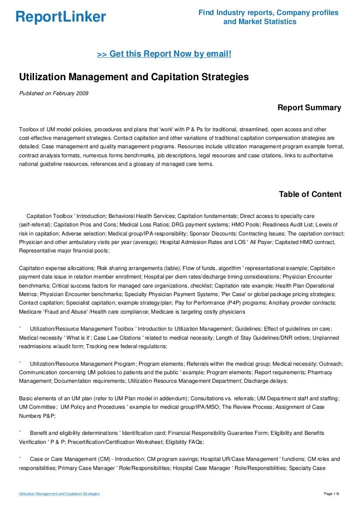 Utilization Management And Capitation Strategies