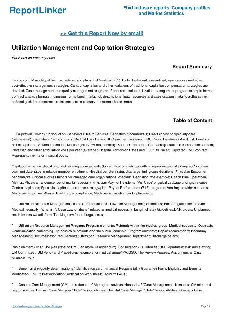 Utilization Management and Capitation Strategies