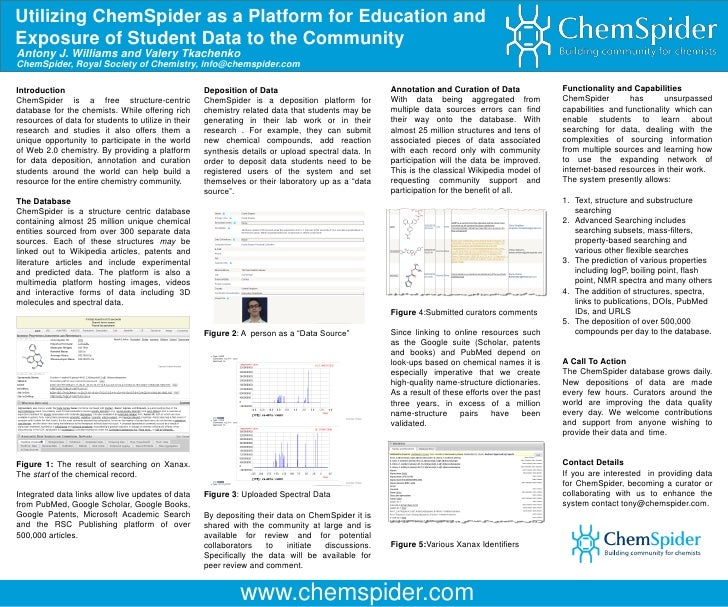Utilizing ChemSpider as a Platform for Education and Exposure of Student Data to the Community Antony J. Williams and Vale...