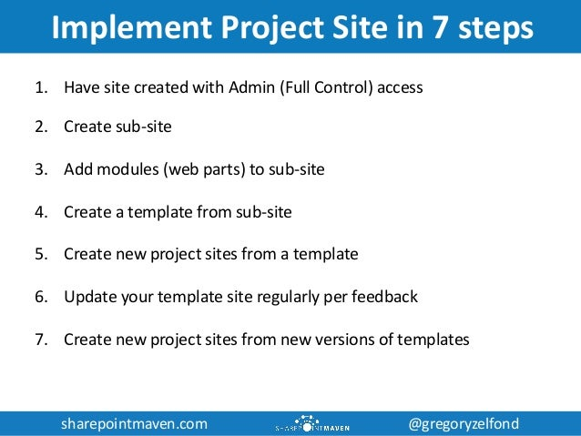 sharepoint project site template