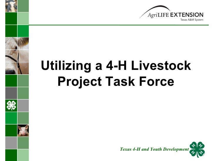 Utilizing a 4-H Livestock Project Task Force Texas 4-H and Youth Development