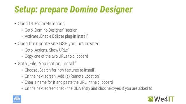 """Setup: prepare Domino Designer • Open DDE's preferences • Goto """"Domino Designer"""" section • Activate """"Enable Eclipse plug-i..."""