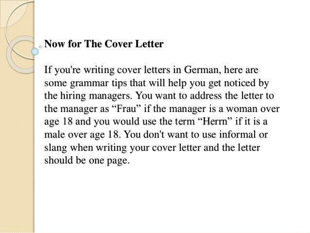 Writing a job application letter in german