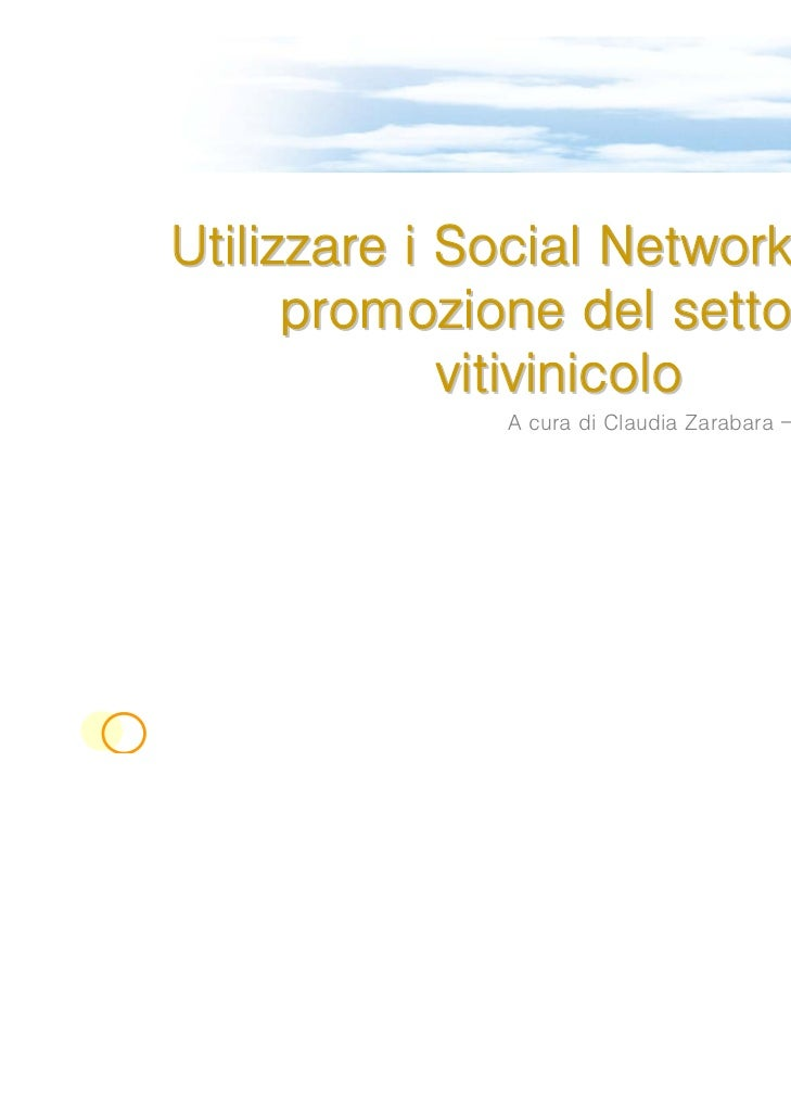 Utilizzare i Social Network per la      promozione del settore             vitivinicolo              A cura di Claudia Zar...