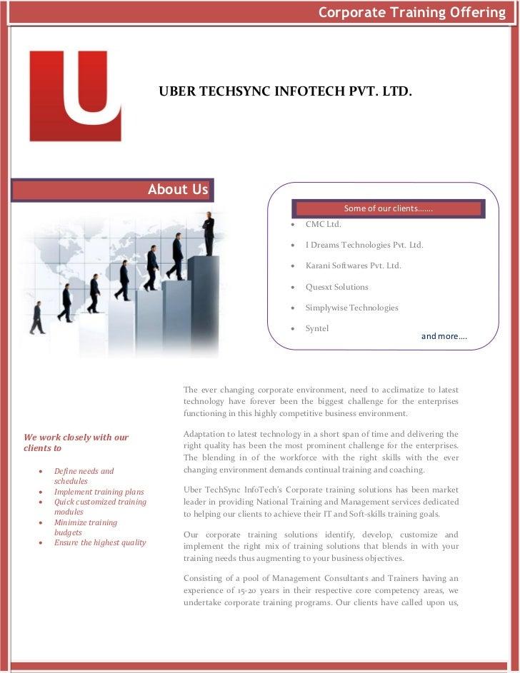 Corporate Training Offering                                     UBER TECHSYNC INFOTECH PVT. LTD.                          ...