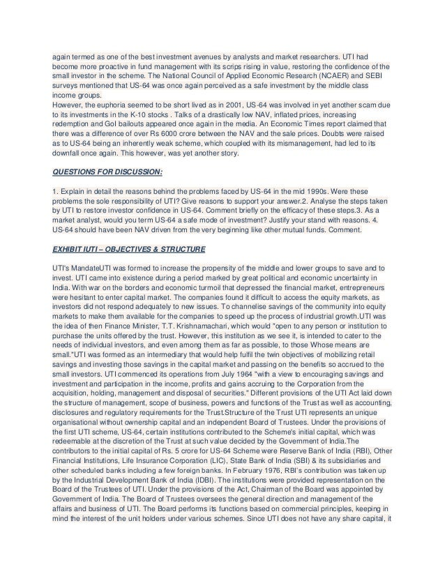 again termed as one of the best investment avenues by analysts and market researchers. UTI had become more proactive in fu...